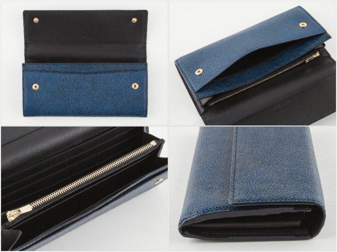 漆塗りかぶせ長財布の各部