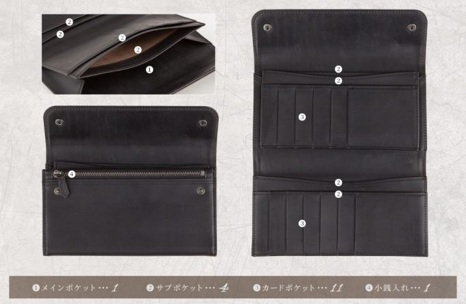 ホーウィンクロムエクセルレザーカブセ束入れの収納ポケット
