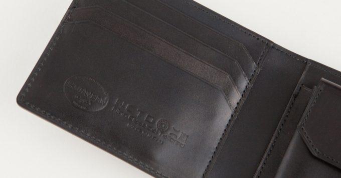 シェルコードバン二つ折り財布の二宮五郎商店のロゴ