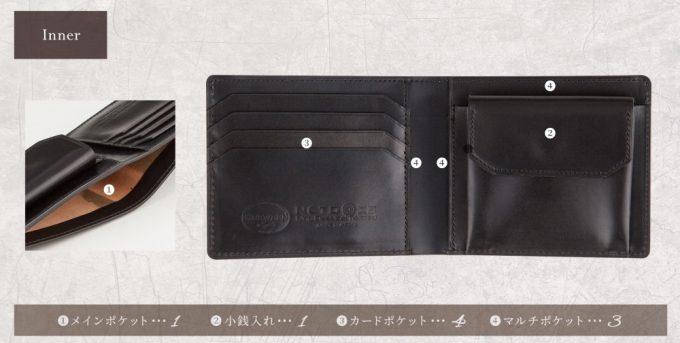 シェルコードバン二つ折り財布の収納ポケット