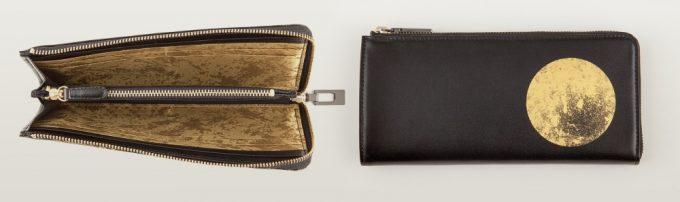 革と金箔とジャガード生地を使ったカモンドの財布