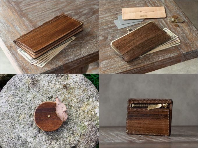 蝶番札入れと漆木目調財布のガマ口財布と小銭入れ