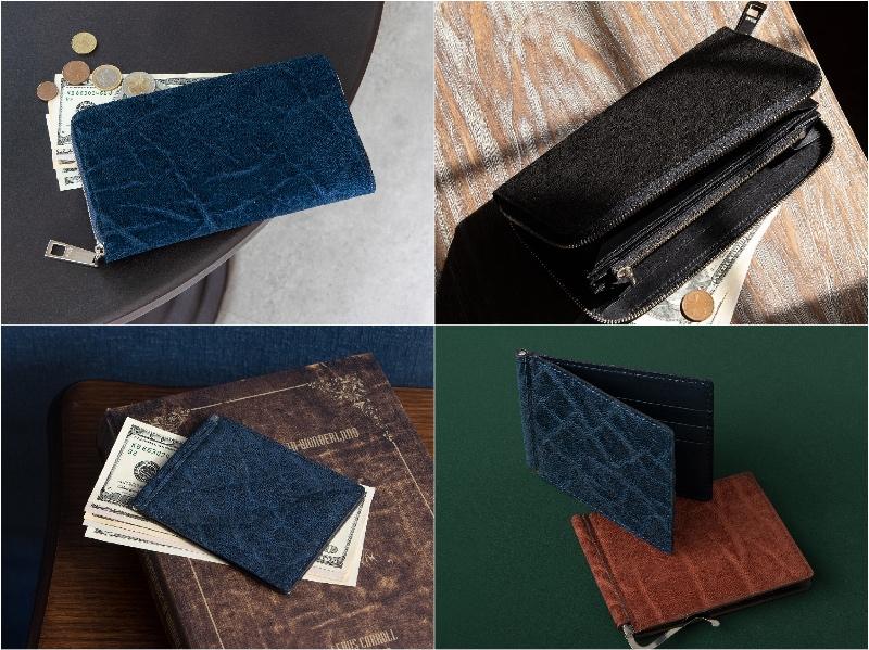 オイルエレファントの革財布(ラウンドファスナー長財布とマネークリップ)