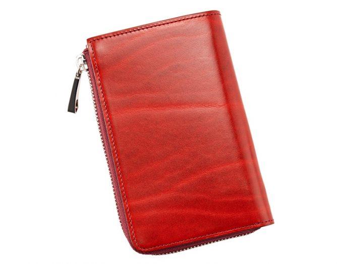 縦型L字ラウンドファスナー二つ折り財布(レッド)