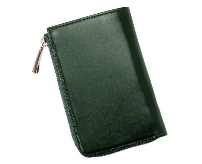縦型L字ラウンドファスナー二つ折り財布(グリーン)