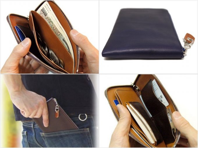 Crampの本革薄いL字ラウンドファスナー長財布の各アングル写真