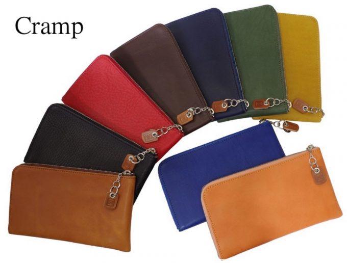 Crampの本革薄いL字ラウンドファスナー長財布