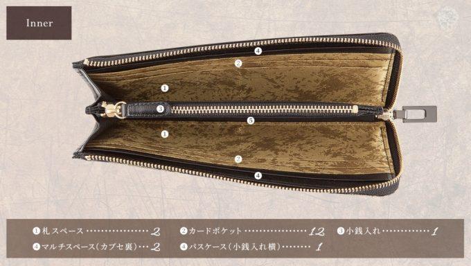 L字ジップウォレット(黒桟革)の収納ポケット