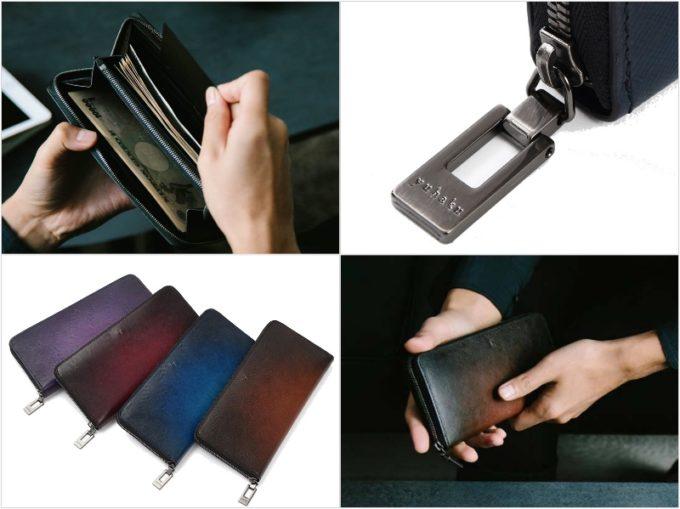 YEV114ラウンドファスナー長財布の各部と持っている男性