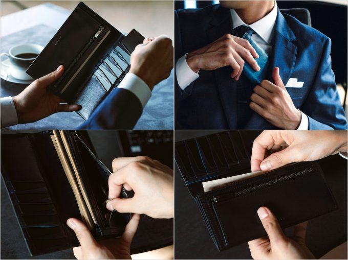 YEV110長財布の各部位と財布を持っている男性