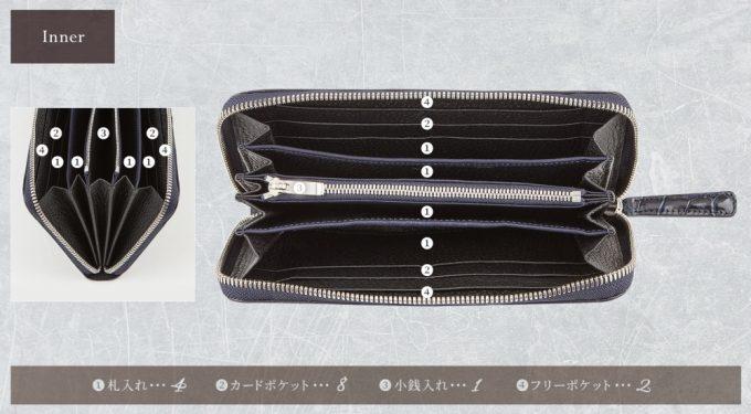 スクモ・クロコダイルラウンドジップウォレットの収納ポケット