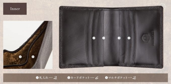 二つ折り財布(黒桟革)の収納ポケット