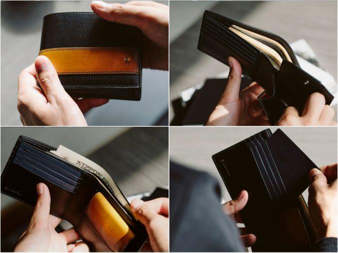 YA132二つ折り財布の外装や内装