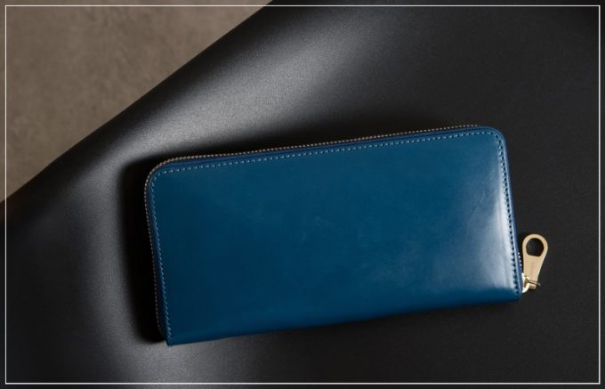 チマブエグレースフル・ブライドルレザー革財布(ブルー)