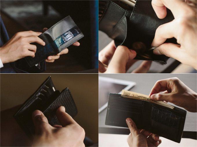 YCR132クロコダイルコンビ二つ折り財布の各部