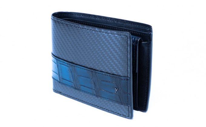 yuhaku・YCR132クロコダイルコンビ二つ折り財布