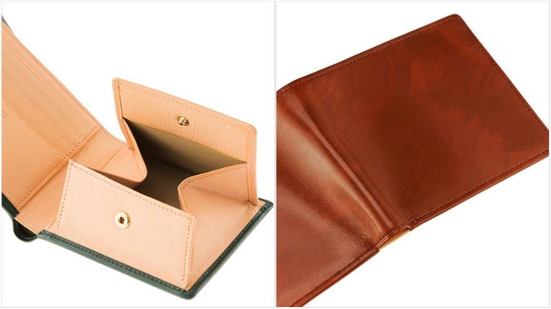 キプリス・シラサギレザー二つ折り財布の各部