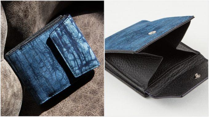 ジュンヤワラシナ・スクモレザーロウ割れ二つ折り財布