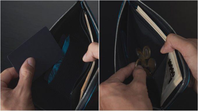 YSR124L字ファスナーウォレットの収納ポケット