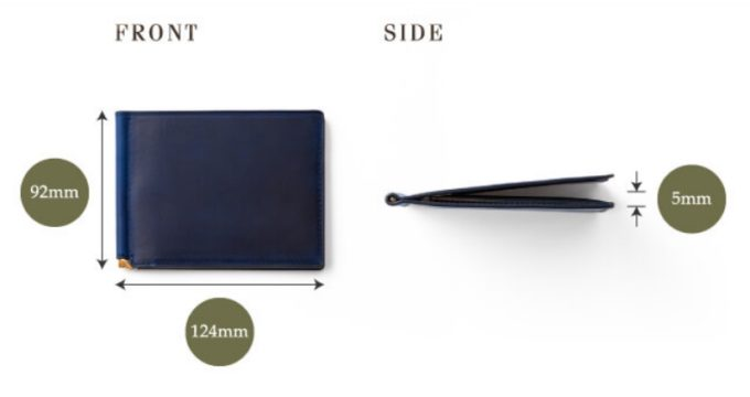 モーダイタリアの薄型が分かるサイズ表