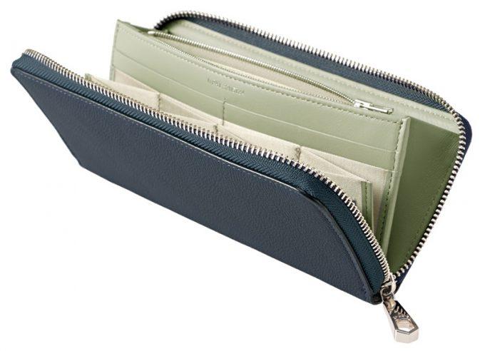 ハニーセル長財布スパークリングカーフ(ブルー×グレー)