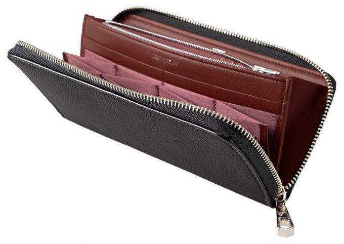 ハニーセル長財布スパークリングカーフ(ブラック×ボルドー)
