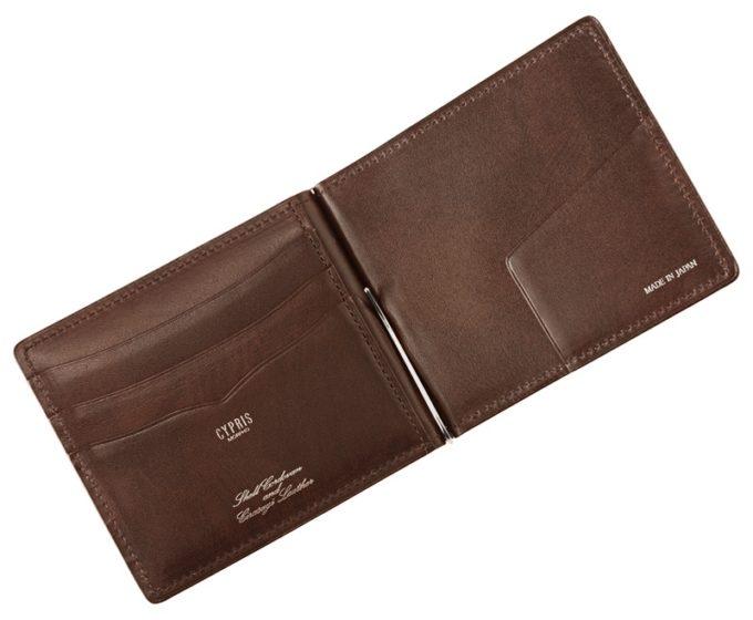 札ばさみ/マネークリップ・オイルシェルコードバン&シラサギレザーのカードポケット付き収納一覧