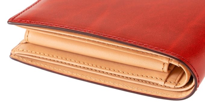 二つ折り財布(小銭入れ付き札入れ)ルーガショルダー&フルベジタブルタンニンの側面