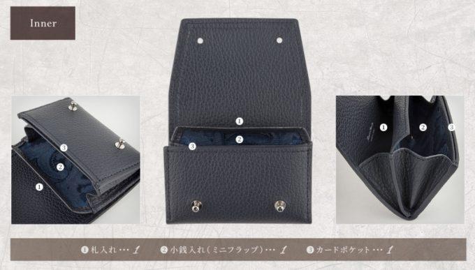 アドリアレザーミニ財布の収納ポケット一覧
