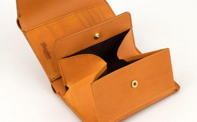 Wホック&Wステッチミニ財布のボックス型小銭入れ