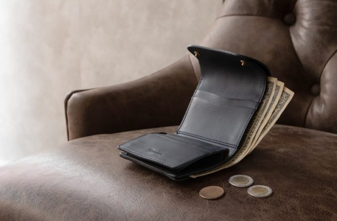 Wホック&Wステッチミニ財布(S)ネロカラー