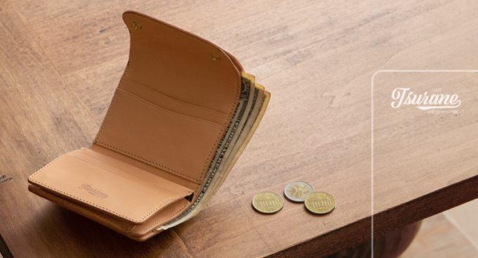 Tsuraneの文字ロゴとWホック&Wステッチミニ財布(S)