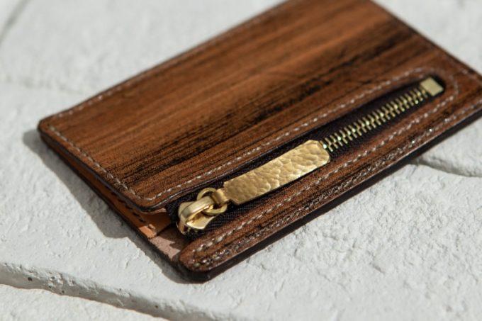 木目調のジッパー小銭入れ(Zipper Coin Case)