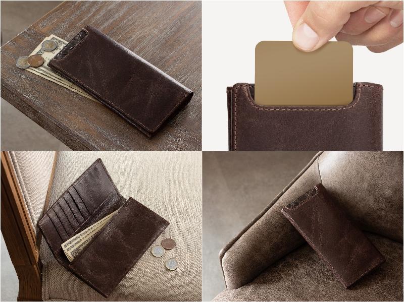 ラセッテー鞣しピッグスキン×クロコダイル長財布(小銭入れ付き)の外装カードポケットと各部