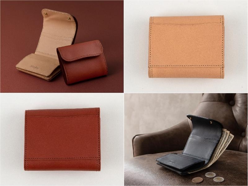 Wホック&Wステッチミニ財布(S)の外装カードポケットと各部