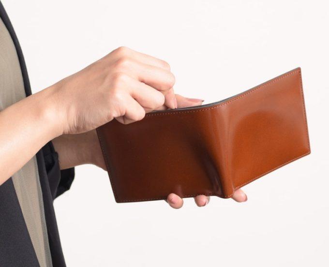 ヒラメキ・アーキライン二つ折り財布(艶有り)