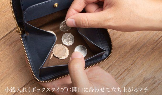 ミニラウンドジップ財布のボックス型小銭入れ