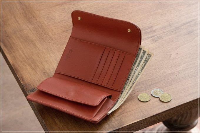 Wホック&Wステッチミニ財布