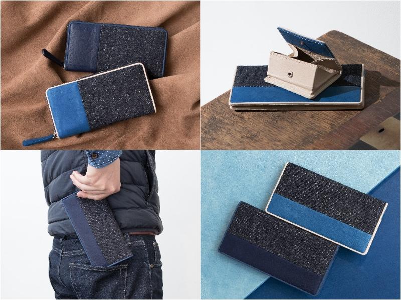 ブルーストーン・Sデニム×スクモレザーシリーズの各種財布
