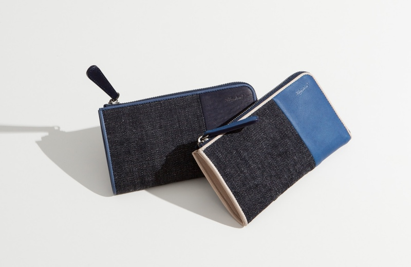 ブルーストーン・Sデニム×スクモレザーシリーズの財布