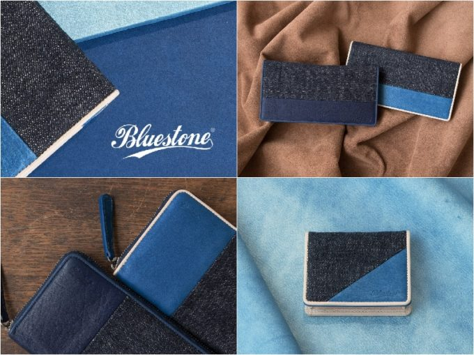 ブルーストーンのロゴと各財布