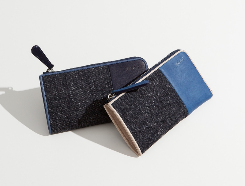 ブルーストーン・スクモレザーのL字ファスナー長財布