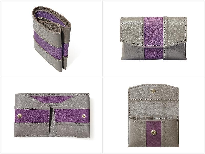 マサミタナカ・二つ折り財布&セルフミニ財布の各アングル(バイオレットパープル)