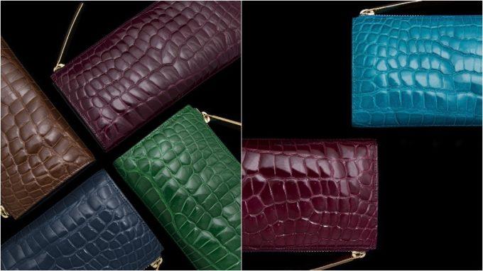カラークロコダイルシリーズの各アングルからの財布(グレープ)