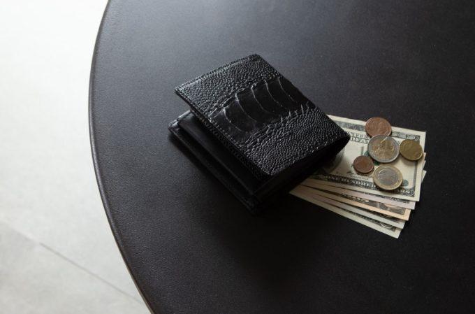 オーストリッチレッグ二つ折り財布