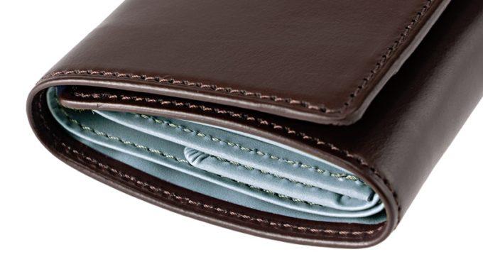 ポケウォレBR三つ折り財布の外装ブライドルレザーと内装3M社スコッチガード仕様牛革