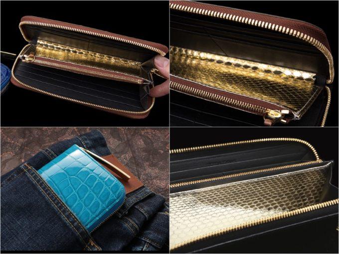 池田工芸・Wゴールドパイソン革財布の各部と内装ゴールドパイソン部