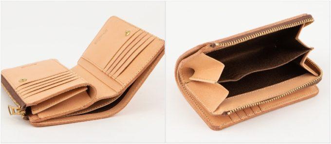 Wステッチショート財布の収納ポケット