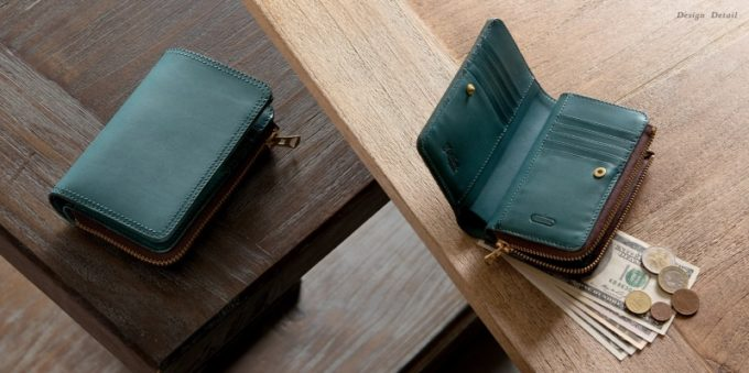 Wステッチショート財布のタンナポート染色による美しい外装と内装