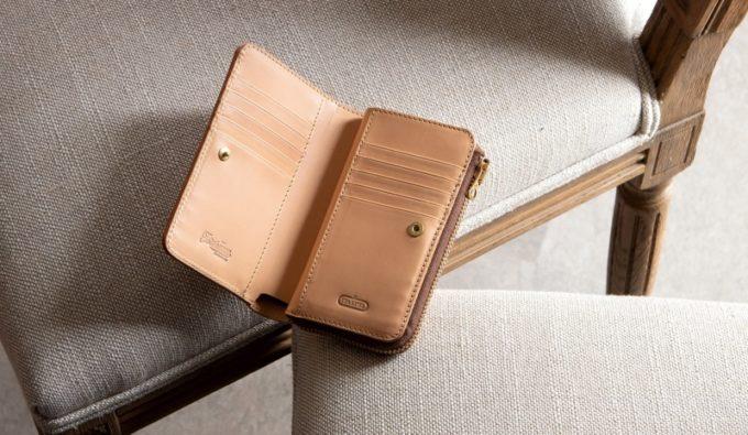ツラネのブランド名が刻印されているWステッチショート財布の内装